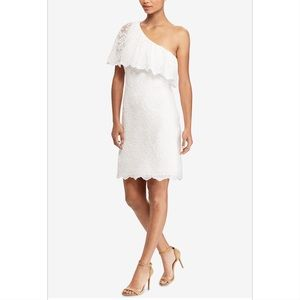 LAUREN RALPH LAUREN ONE SHOULDER OVERLAY DRESS